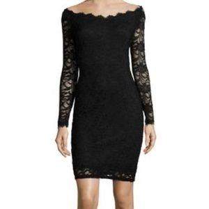 MARINA Black & Nude Long Sleeve Lace Midi Dress 10